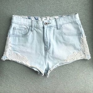 Forever 21 Lace High Waisted Denim Shorts